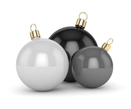 3d rendering of christmas baubles on white  background
