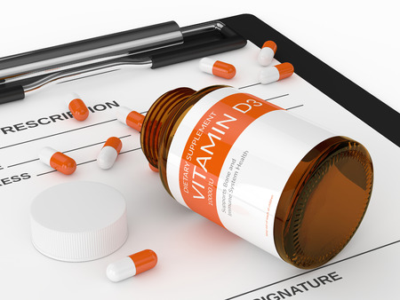 3d render of vitamin d3 pills in bottle over white background