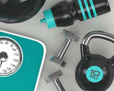 3d rendering of dumbbells, scale, kettlebell and gym shaker on fitness mat