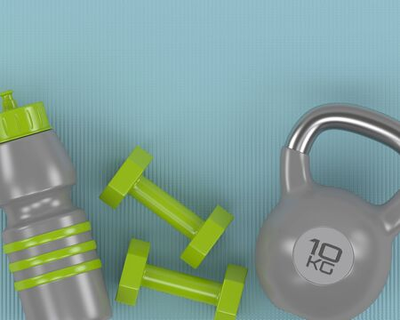 3d rendering of dumbbells, kettlebell and gym shaker  lying on fitness mat with place for text Stock Photo