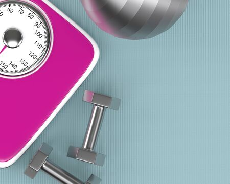 3d rendering of dumbbells, ball nad scale  lying on fitness mat with place for text Stock Photo