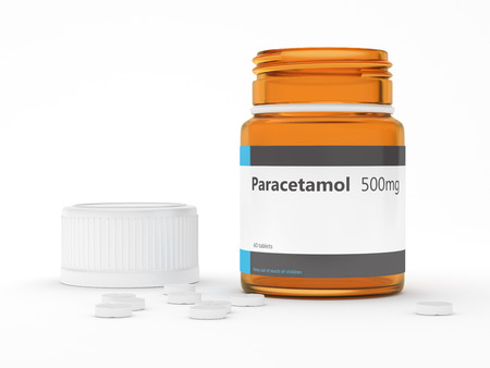 3d rendering of paracetamol bottle with pills over white. Acetaminophen medication concept.