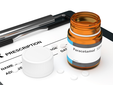 3d rendering of paracetamol pills lying on rx and clipboard. Acetaminophen medication concept.  Stock Photo