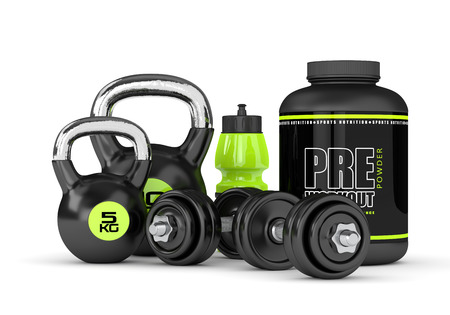 3D render of pre-workout powder with dumbbells and kettlebell isolated over white background