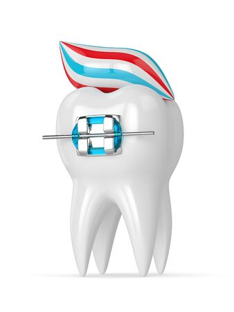 3d render of tooth and toothpaste isolated over white background