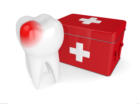 3d render of tooth with first aid kit isolated on white background