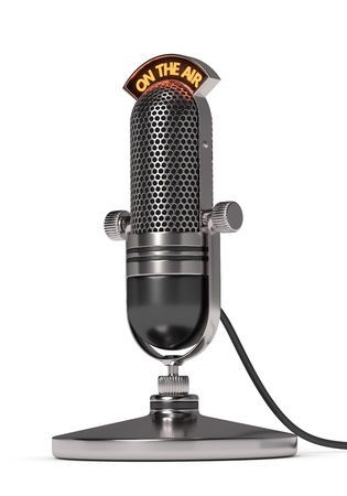 3d render of vintage microphone over white background
