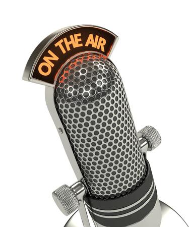 3d rinden del micrófono de la vendimia sobre el fondo blanco