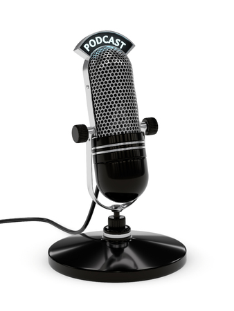 3d render of microphone with podcast text over white background Standard-Bild