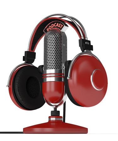 3d geef van microfoon met hoofdtelefoons en podcasttekst terug over witte achtergrond
