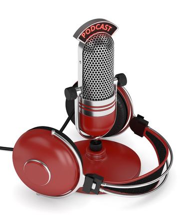 3d rendem do microfone com fones de ouvido e texto do podcast sobre o fundo branco