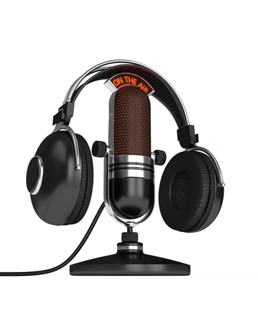 3d render of microphone with headphones  over white background