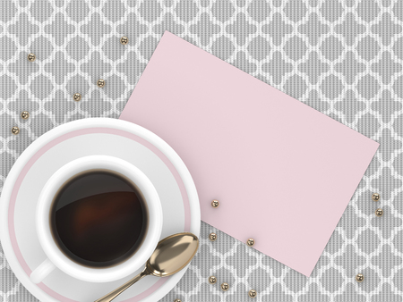 3d render of coffee with blank card lying on tablecloth