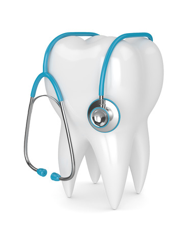 3d render of tooth with stethoscope over white background