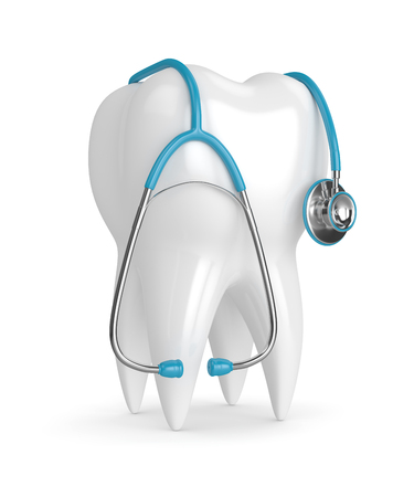 3d render of tooth with stethoscope over white background Stock Photo - 92519568