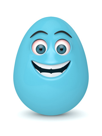 3d render of Easter cartoon egg over white background