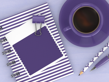 3d render of top view with ultra violet swatch card and stationery lying on wooden desk. Color of the year 2018.  Stock Photo
