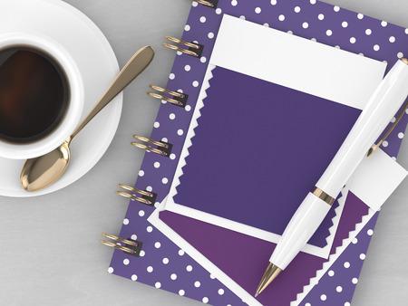 木製の机の上に横たわっている文房具や織物の色の見本の上のビューの3Dレンダリング。紫外線。2018年の色。