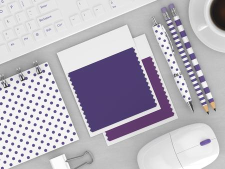 木製の机の上に横になっている文房具やテキスタイルの色見本帳の上面の 3 d のレンダリング。ウルトラ バイオレット。2018 年の色です。 写真素材