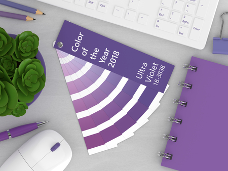 3d render of stationery with color palette guide lying on wooden desk. Ultraviolet. Color of the year 2018. Stock Photo