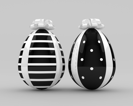 3d rendering of Easter eggs with bow over gray background Stock Photo