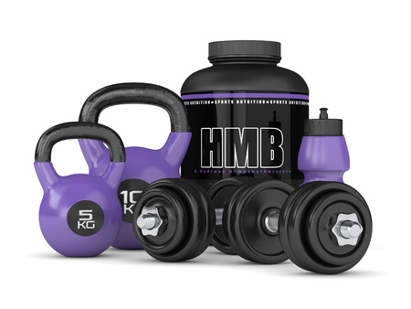 3d render of HMB container kettlebells and dumbbells isolated over white background. Sport supplement concept.