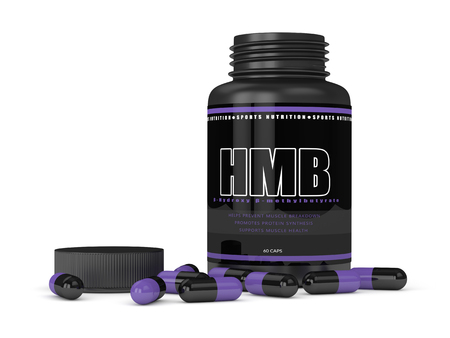 3d render of HMB bottle with pills isolated over white background. Sport supplement concept.  Stock Photo