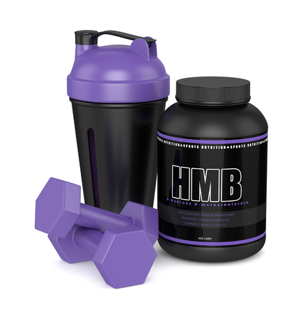 3d render of HMB container with shaker and dumbbells isolated over white background. Sport supplement concept.
