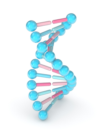 3d render of DNA chain isolated over white background