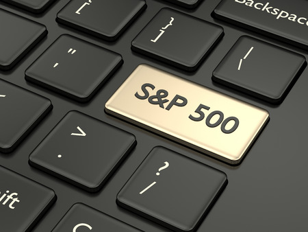3d render closeup of computer keyboard with S&P 500  index button. Stock market indexes concept.