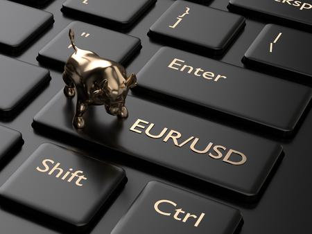 Rendu 3D du clavier de l'ordinateur avec bouton euro et dollar. Concept de paires de devises Forex.