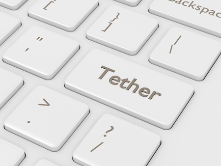 3d render of computer keyboard with Tether button. Cryptocurrencies concept.