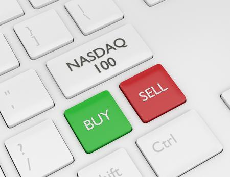 3d render closeup of computer keyboard with NASDAQ 100 index button. Stock market indexes concept. Stock Photo