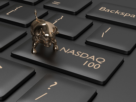 3d render closeup of computer keyboard with NASDAQ 100 index button and bull. Stock market indexes concept.