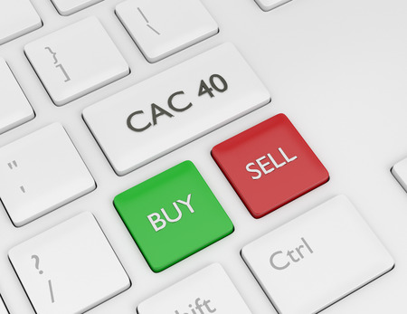 3d render closeup of computer keyboard with CAC 40 index button. Stock market indexes concept. Stock Photo