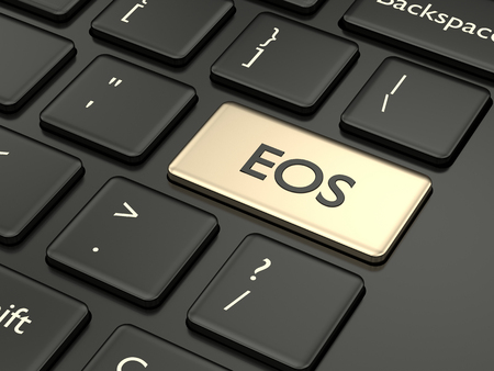 3d render of computer keyboard with EOS button. Cryptocurrencies concept. Stockfoto