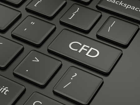 3d render of computer keyboard with CFD button. Stock market issue concept