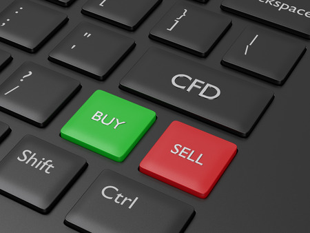 Computer keyboard with BUY and SELL button. Stock market issue concept