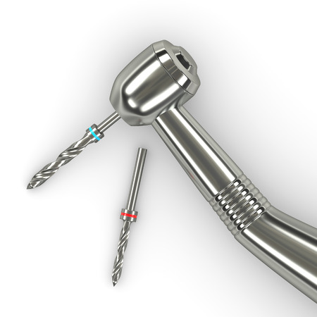 3d render of handpiece with dental drills over white background Stockfoto