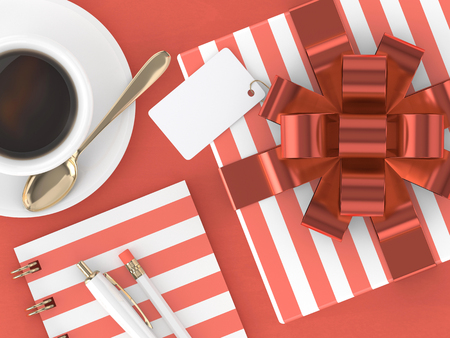 3d render of gift with blank card and stationery lying on wooden desk. Living coral. Color of the year 2019 concept.