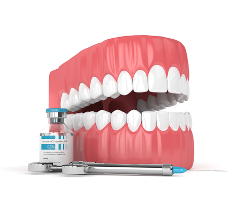 3d  render of jaw with lidocaine and syringe over white background. Dental anesthesia concept. Lidocaine is an organic chemical compound used as a local anesthetic