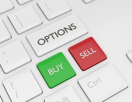3d render of keyboard with options button. The concept of investing in the stock market