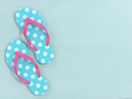 3d render of flip flops over light blue background with place for text Reklamní fotografie