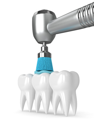 3d render of teeth with dental handpiece and polishing brush. Dental polishing concept.