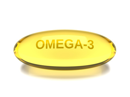 3d render of omega 3 capsule isolated over white background