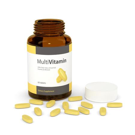 3d render of multivitamin bottle with pills isolated over white backgroud Foto de archivo - 122938645