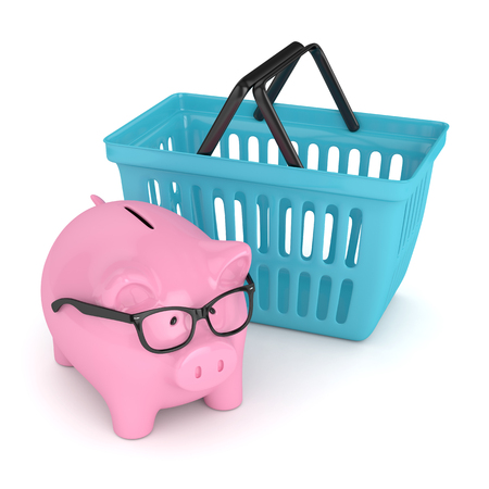 3d render of piggy bank with shopping basket. Saving money on shopping concept