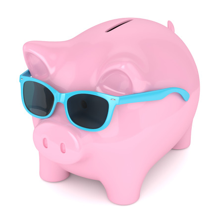 3d render of piggy bank with sunglasses over white background Stock Photo