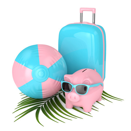 3d render of piggy bank with suitcase and beach ball over white background Banco de Imagens