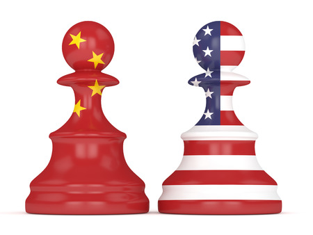 3d render of  USA and China flags on chess pawns soldiers. USA and China trade relations concept